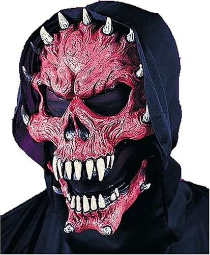 Click on Party Red Horned Devil Demon Mask with Cowl and Moving Jaw Halloween Costume Accessory -