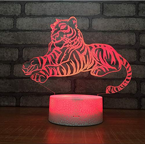 (kkkmb New Crack Home Product Led Atmosphere Lamp Bedroom Bedside Decoration 3D Night Lamp Voodoo Tiger)