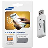 Samsung Electronics 64GB EVO Micro SDXC with Adapter Upto 48MB/s Class 10 Memory Card (MB-MP64DA) with SoCal Trade USB 3.0 High Speed Dual Slot MicroSD HC and SD HC Memory Card Reader