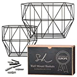 Scandinavian Hub Wall Fruit Basket with Hooks - Farmhouse Wall Mounted Fruit Basket Set (of 2 Black) for Use as Fruit or Produce Basket, Wall Planter, Wall Organizer Unit/Wire Baskets for Pantry