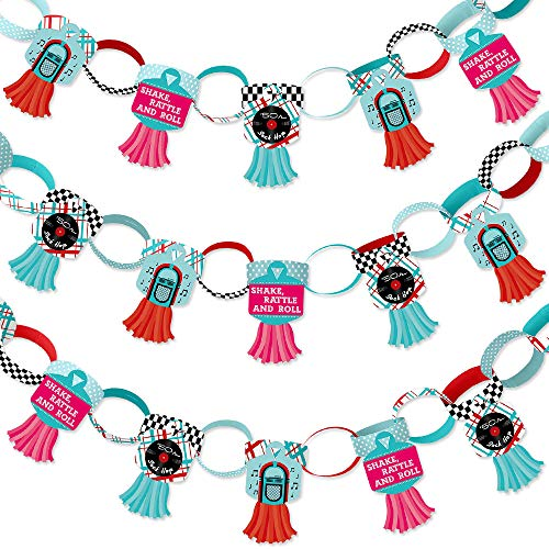 Big Dot of Happiness 50's Sock Hop - 90 Chain Links and 30 Paper Tassels Decoration Kit - 1950s Rock N Roll Party Paper Chains Garland - 21 ()