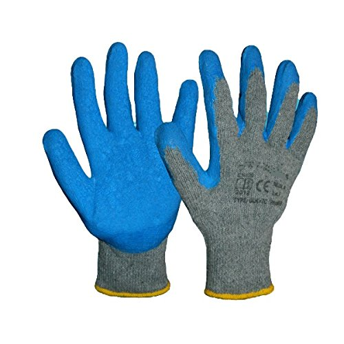 12 Pairs LATEX COATED RUBBER WORK GLOVES THICK COTTON SAFE BUILDER GRIP GARDENING BLUE size 9 / Large Art Mas