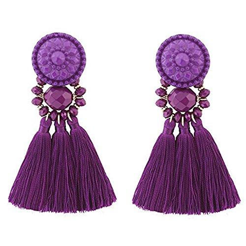 Purple Button Earrings - Statement Thread Tassel Earrings Enjoit Chandelier Drop Dangle with Cassandra Button Stud for Women (Purple)