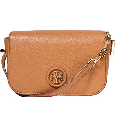 Leather Crossbody Burch Logo Women's Whipstitch Bag Handbag Bark Mini Tory wvqTfq