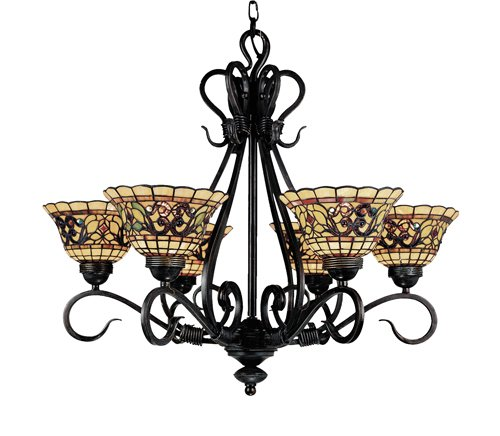 (Elk 366-Va Tiffany Buckingham 6-Light Chandelier, 26-Inch, Vintage Antique With Tiffany Style Glass)
