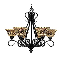 Landmark 366-VA Tiffany Buckingham 6-Light Chandelier, 26-Inch, Vintage Antique with Tiffany Style Glass