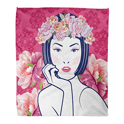 Emvency Throw Blanket Warm Cozy Print Flannel Pink Girl Blue and White Chinese Lady in Retro on Floral Peony Comfortable Soft for Bed Sofa and Couch 50x60 Inches