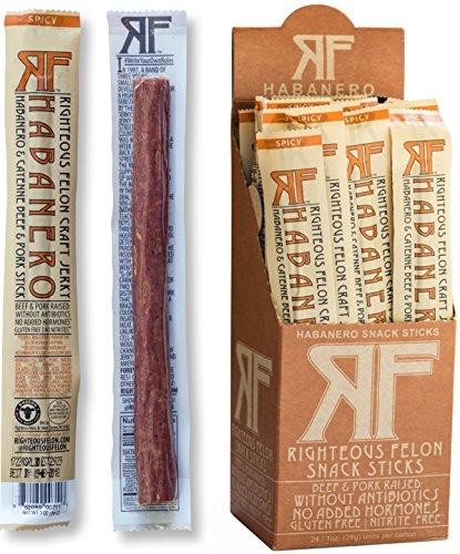 Righteous Felon Snack Sticks - Habanero Escobar Spicy Meat Sticks - High-Protein, Gluten-Free Pork & Beef Sticks - Locally Sourced, Low-Sugar Pork Jerky & Beef Jerky Sticks - 1 Ounce Each, 24-Count
