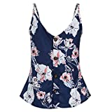 Software : Women's Casual Spaghetti Strap Button Front Tie Front V Neck Sleeveless Blouses SADUORHAPPY Tank Tops (S, Navy)
