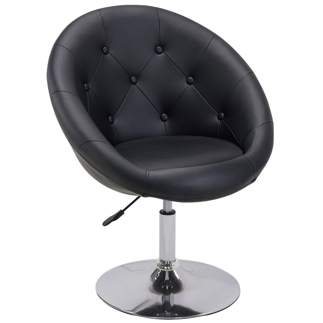 Duhome Jumbo Size Contemporary Synthetic Leather Accent Chair Tufted Round Back Adjustable Swivel Cocktail Stool (Black)