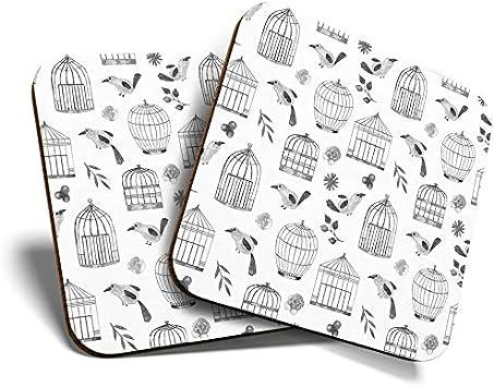 Great Coasters - Posavasos (2 unidades, cuadrados, diseño de jaula de pájaros, acabado satinado, protección de mesa para cualquier tipo de mesa #42565)