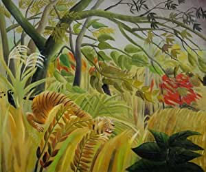 Xun-oilpaintings-Surprise by Henri Rousseau OSA220 Hand Painted Modern Oil Paintings Canvas Wall Art for Wall Decor Home Decoration(Stretched and framed, ready to hang.) by Xun-oilpaintings