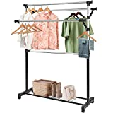 Clothing Garment Rack Adjustable Rolling Commercial Grade Heavy Duty Clothing Steel Extendable Hanger Drying Rack Organizer with 16 Hanger Holes Storage Shelf with Wheels for Boxes Shoes Chrome