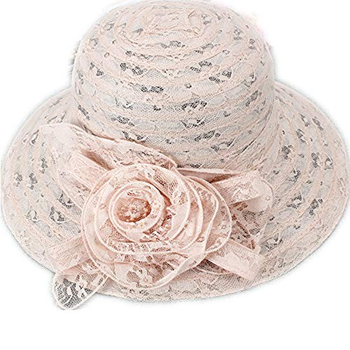 Pink Lace Hat - (Light Pink) Lace Flower Ornament Lady Dress Church Cloche Hat Bow Bucket Hats Beach Summer Hats
