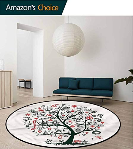 RUGSMAT Christmas Area Rugs Traditional Design,Tree Ornaments Gifts Green Soft Area Rugs Round-59
