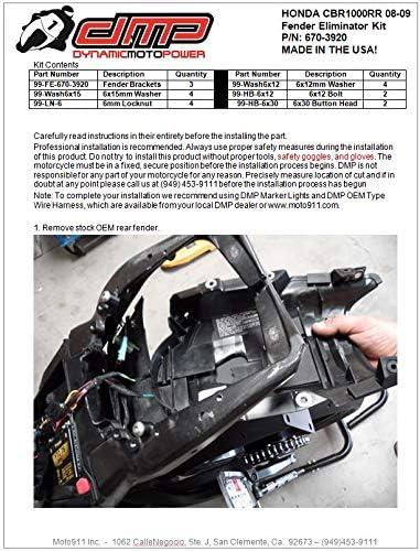 DMP 2014 2015 2016 Honda CBR1000RR CBR1000 CBR 1000 Fender Eliminator 670-3940 MADE IN THE USA