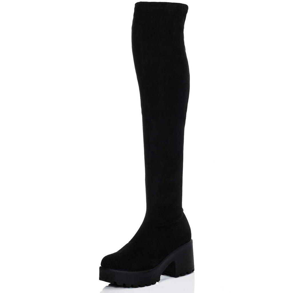 Spylovebuy Platform Block Heel Over Knee Tall Boots Black Suede Style SZ 6