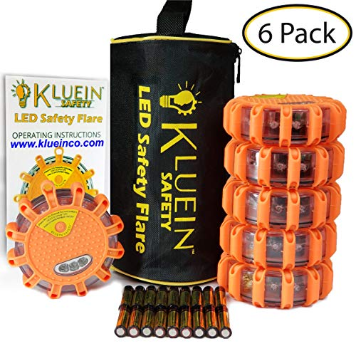 Kluein Safety LED Road Flares (6 Pack) with Storage Bag & 18 Batteries Included – Flashing Warning Roadside Emergency Disc Beacon 9 modes + Flashlight, Magnetic Base & Hook for; Car RV Truck Boat Bike ()