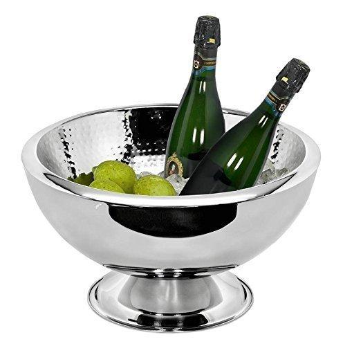 EDZARD Getränkekühler Champagnerkühler   Sektkühler Cadiz, Doppelwandig, innen gehämmert, Edelstahl, Ø 32 cm