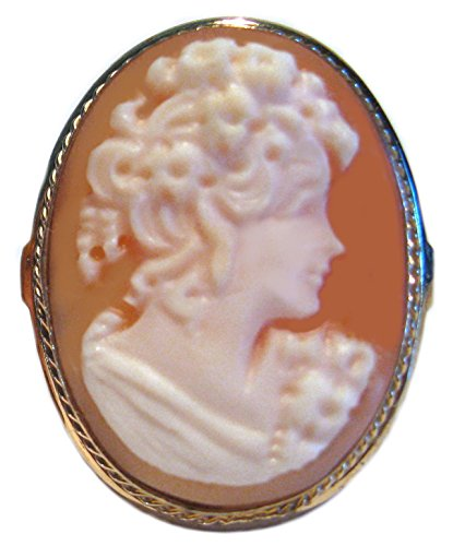 - Cameo Ring Italian 925 Sterling Silver 18k Gold Overlay Size 7.75 Italian Hand Made