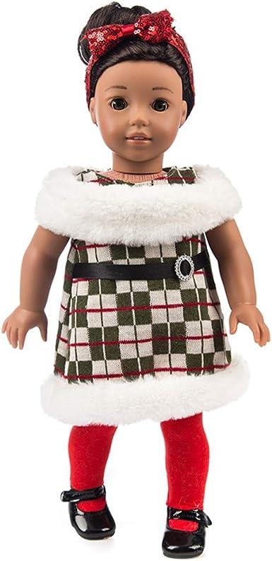 YUYOUG 3PC Mode de No/ël /à Carreaux Ensemble de v/êtements pour poup/ées for 18inch American Girl Our Generation Dolls Set Doll Clothes