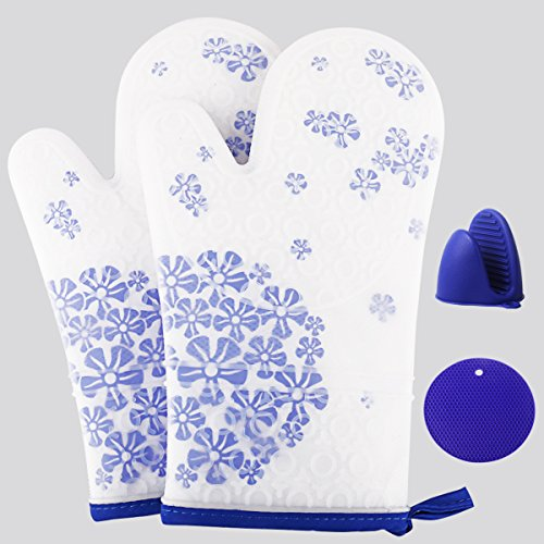 Conventional Oven Mitt (Silicone Oven Mitts, Heat Resistant Cooking Gloves, Non-Slip Oven Mitts and Pot Holders with Quilted Cotton Lining for Kitchen, Grilling, BBQ, Microwave By Uvistare (Blue))