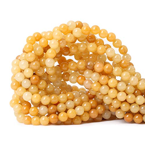 CHEAVIAN 60PCS 6mm Natural Yellow Jade Multi-Color Gemstone Round Loose Beads for Jewelry Making DIY Handmade Materials 1 Strand 15