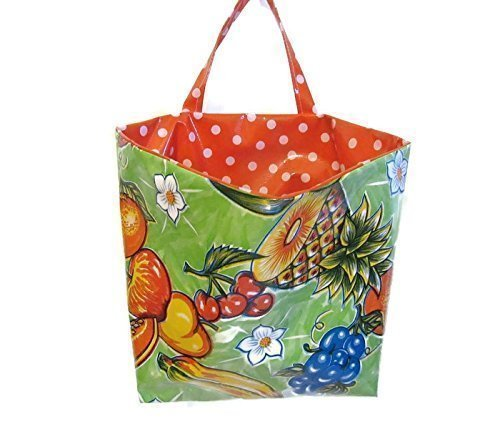 Oilcloth Kitchen Car Trash Bag Green Fruit Print with Easy Wipe Polka Lining and Gear Shift Strap