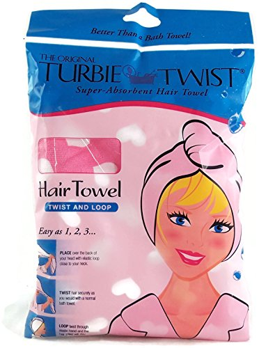The Original Turbie Twist Super Absorbent Hair Towel - Pink with White Hearts