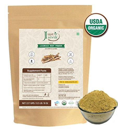 Just Jaivik 100% Organic Licorice Root Powder - Mulethi Powder 227 g/0.5 LB Pack (Glycyrrhiza Glabra)/Yastimadu Powder- An USDA Organic Certified Herb