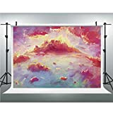 Photo Studio,Coral,Muslin Collapsible Backdrop Background for Photography, Video and Television,10x10ft,Vibrant Illustration of Clouds Scenic Sunset Fluffy Fantasy Magnificient