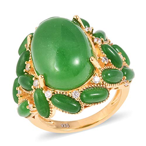 (Cocktail Ring 925 Sterling Silver Vermeil Yellow Gold Green Jade White Zircon Jewelry for Women Size 6)