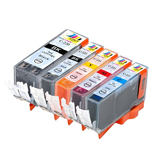 5 Pack Compatible Replacement Inkjet Cartridges for PGI-220 Black CLI-221 Black Cyan Magenta Yellow PIXMA IP3600 IP4600 IP4700 MP540 MP560 MP620 MP620B MP640 MP640R MP980 MP990 MX860 MX870 ()