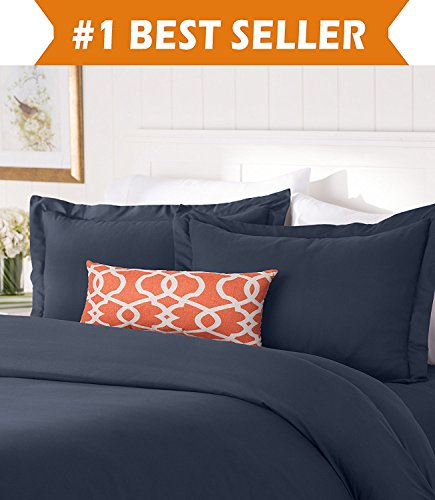 Elegant Comfort #1 Best Bedding Duvet Cover Set! 1500 Thread Count Egyptian Quality Luxurious Silky-Soft WRINKLE FREE 2-Piece Duvet Cover Set, Twin/Twin XL, Navy Blue