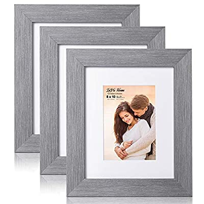 LaVie Home 8x10 Picture Frames with mat(3 Pack,Gray) Woodgrain Photo Frame with High Definition Glass for Wall Mount & Table Top Display, Set of 3 Serendipity Collection - ELEGANT DESIGN - LaVie Home 8 x 10 picture frame is designed with a wide frame, slightly woodgrain pressing process makes it comparable with the solid wood frame. It looks bright and tasteful, fits any decor,whether it's modern or vintage. HIGHEST QUALITY - Crafted by Durable PS (acrylic-resin) molding construction, clean lines with attractively artificial wood texture finished. Every frame made with perfect attention to details. WALL MOUNT or TABLE TOP - Includes hanger hooks to easily hang artwork or photographs in either portrait or landscape orientation. Versatile kickstand easel lets you display horizontally or vertically to fit in the space available. - picture-frames, bedroom-decor, bedroom - 51oeGl4BPzL. SS400  -