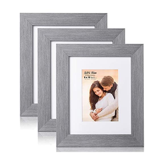 LaVie Home 8x10 Picture Frames (3 Packs, Gray) with Flat Mat for 5x7 Photo and High Definition Glass, for Wall Mount & Tabletop Display, Set of 3 Serendipity Collection - ELEGANT DESIGN - LaVie Home 8 x 10 picture frame is designed with a wide frame, slightly woodgrain pressing process makes it comparable with the solid wood frame. It looks bright and tasteful, fits any decor,whether it's modern or vintage. HIGHEST QUALITY - Crafted by Durable PS (acrylic-resin) molding construction, clean lines with attractively artificial wood texture finished. Every frame made with perfect attention to details. WALL MOUNT or TABLE TOP - Includes hanger hooks to easily hang artwork or photographs in either portrait or landscape orientation. Versatile kickstand easel lets you display horizontally or vertically to fit in the space available. - picture-frames, bedroom-decor, bedroom - 51oeGl4BPzL. SS570  -