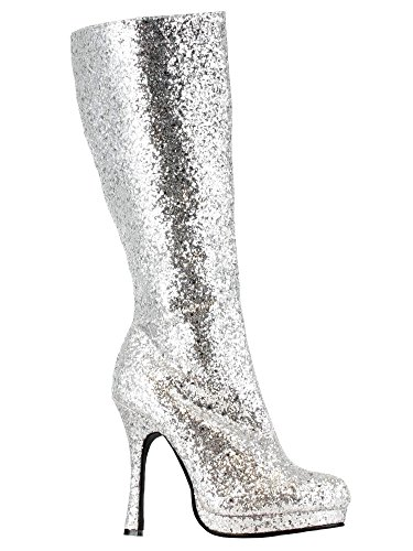 Silver Costumes Boots (Ellie Shoes Women's 421-Zara Boot, Silver, 7 M US)