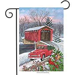 "Winter Covered Bridge Seasonal Garden Flag Pickup Truck Cardinals 12.5"" x 18"""