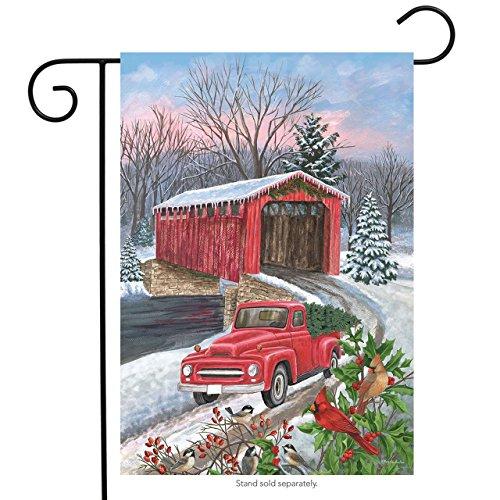 "Winter Covered Bridge Seasonal Garden Flag Pickup Truck Cardinals 12.5"" x 18"""