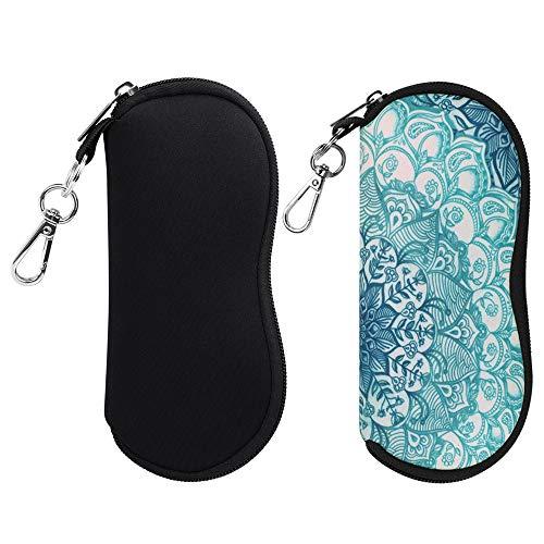(2 Pack) Fintie Eyeglasses Case with Carabiner, Ultra Light Portable Neoprene Zipper Sunglasses Soft Case, Black+Emerald ()