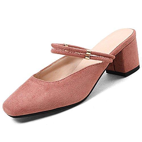Kingrover Place La Glissent À Des Rose Blocs Bout Mi Talons Glisser De Chaussures Mules À Mode Femmes Sandales Fermé Sur f44IrxOn