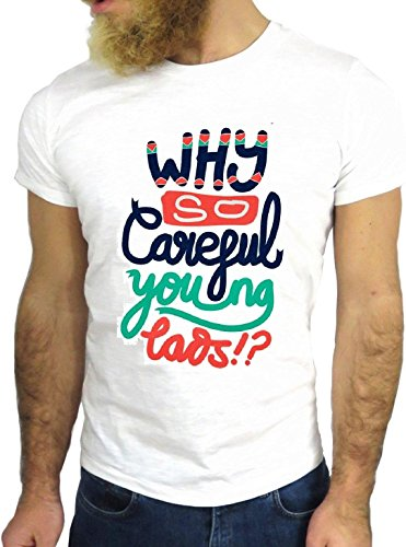 T SHIRT JODE Z1540 WHY SO CAREFUL YOUNG POP LIFESTYLE FUN COOL FASHION NICE GGG24 BIANCA - WHITE L