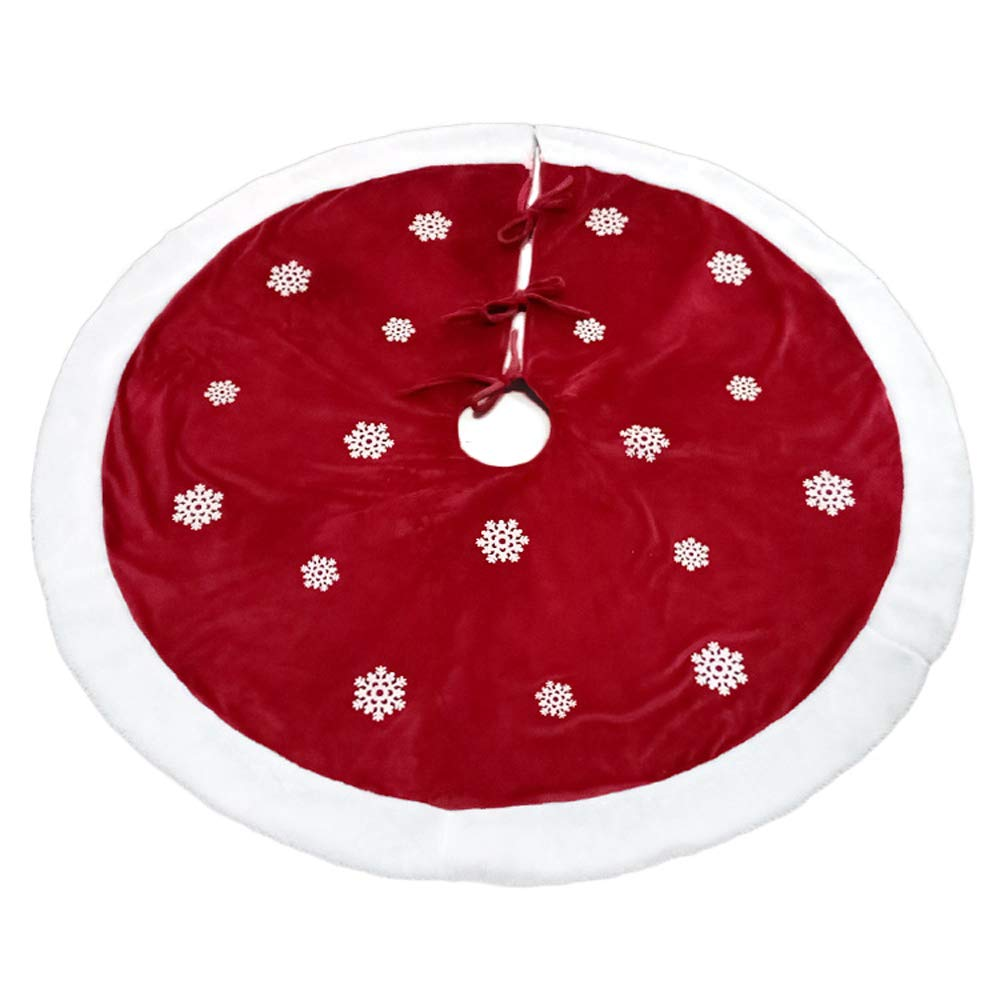 Romiracle Christmas Tree Skirt 48inch/122cm Snowflake Tree Skirt Xmas Holiday Decorations Home Party Oranments (Snowflake)
