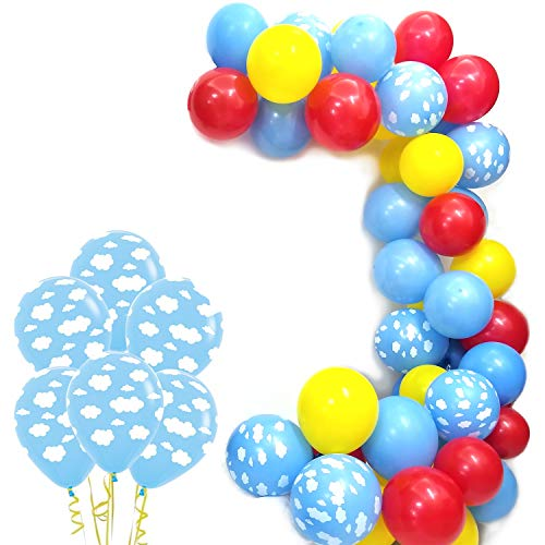 Cloud Party Balloons Pack of 100 - Clouds with Yellow Red Blue Latex Balloons, For Boy Girl Birthday Baby Shower Party -
