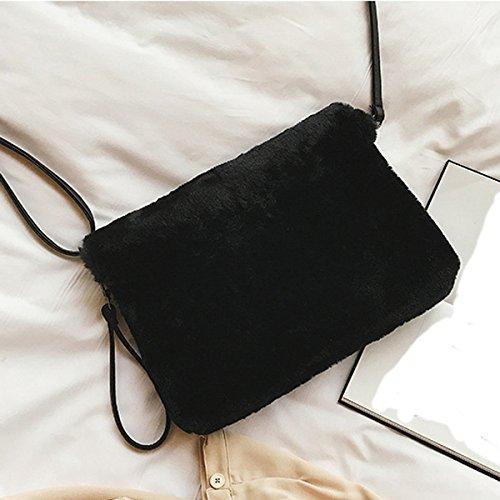 Nuevo Pelusa Sobres Diagonal Bolsa De Hombro Moda Bolso Black