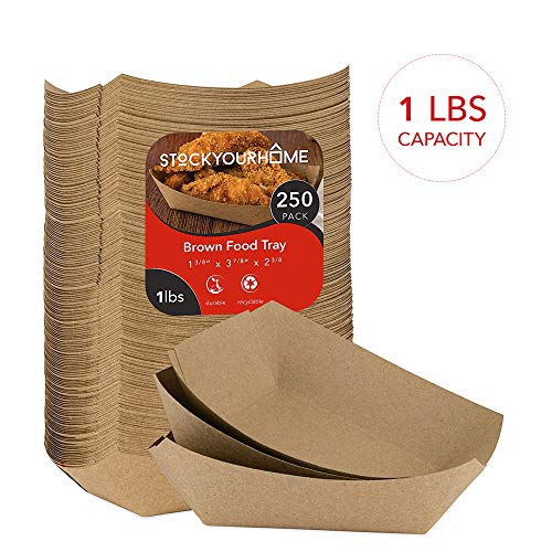 Paper Food Boats (250 Pack) Disposable Brown Tray - Eco Friendly 1 Lb Brown Paper Food Trays - Serving Boats for Nachos, Tacos, French Fries (Tray Dark Serving Brown)