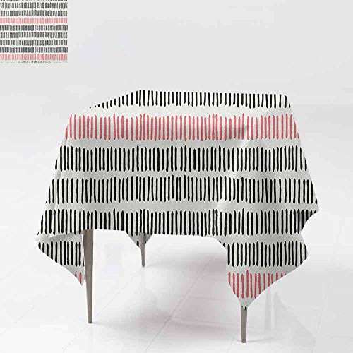 AndyTours Spill-Proof Table Cover,Abstract,Hand Drawn Short Vertical Lines Retro Horizontal Stripes Hipster Doodle,Party Decorations Table Cover Cloth,36x36 Inch Black Coral White