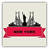 """New York City Silhouette Statue Of Liberty Travel Car Bumper Sticker Decal 5"""" x 5"""""""