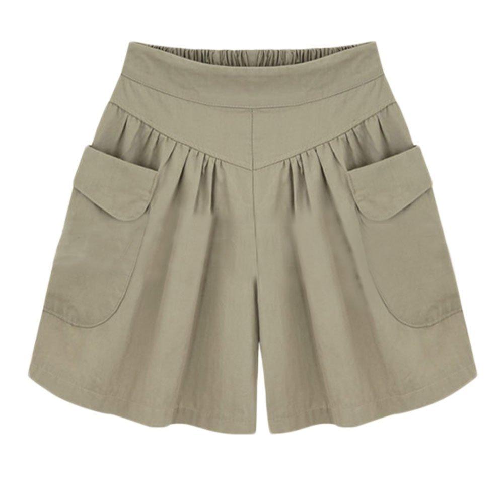 AvaCostume Women's Summer Comfortable Culottes Elastic Waist Wide Leg Pocket Casual Shorts Khaki XL