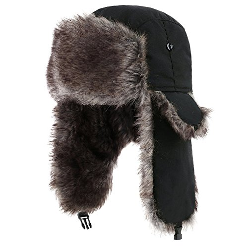 Fur Trapper (Yesurprise Trapper Warm Russian Trooper Fur Earflap Winter Skiing Warm Hat Cap Women Men Unisex Windproof Army Black)